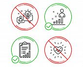 Do or Stop. Checklist, Idea and Stats icons simple set. Heartbeat sign. Graph report, Solution, Business analysis. Medical heart. Science set. Line checklist do icon. Prohibited ban stop. Good or bad poster