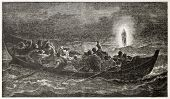 Christ walking on the sea, old illustration. Created by Jalabert, published on L'Illustration, Journal Universel, Paris, 1863 poster