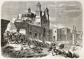 French intervention in Mexico: assault to Notre-Dame de Guadalupite church in Puebla by French army soldiers. Created by Godefroy-Durand, published on L'Illustration, Paris, 1863 poster