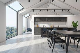 Scandinavian Kitchen Interior, Bar And Table