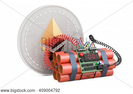 Ethereum With Bomb, Difficulty Bomb Concept, 3d Rendering Isolated On White Background