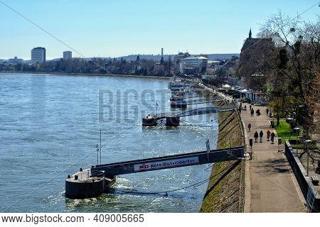 Bonn, Germany - April 6, 2018 : Promenade Next To The River Rhine In Bonn Germany