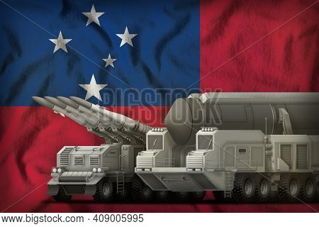 Rocket Forces On The Samoa Flag Background. Samoa Rocket Forces Concept. 3d Illustration