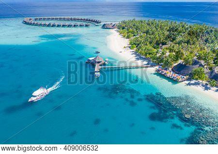 Sea Beach Aerial. Luxury Summer Travel Vacation Landscape. Tropical Beach, Drone View. Beach Villas
