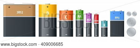 Alkaline Battery, Accumulators. Alkaline Cylinder, Accumulator And Coin Cells. Group Of Different Si
