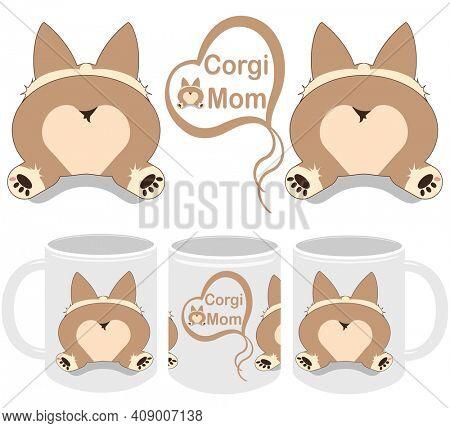 Corgi Mom Corgi Sploot  Mug Template Design and Mockup Set for Print on Demand Drop Shipping
