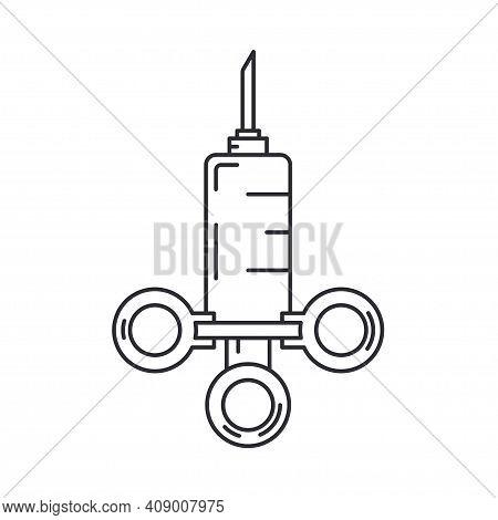Line Medical Healthcare Art Icon - Syringe. Professional Equipment Symbol. Science, Pharmacy, Medic,
