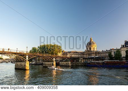 Paris, France - August 29, 2019 : Building Of Institute Of France In Paris, Which Houses French Acad