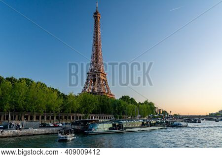 Paris, France - August 29, 2019 : The Eiffel Tower In Paris, France, One Of The Most Iconic Landmark