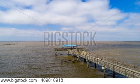 Mayday Park Pier On Mobile Bay From Daphne, Alabama In February Of 2021