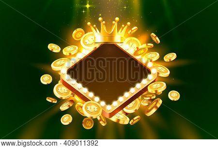 Casino Frame Label Frame, Golden Banner, Border Winner, Vegas Game. Vector