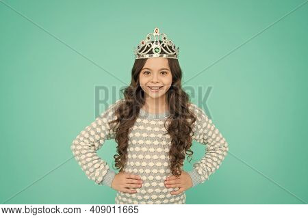 Number One. Kid Wear Golden Crown Symbol Of Princess. Girl Cute Baby Wear Crown Blue Background. Suc