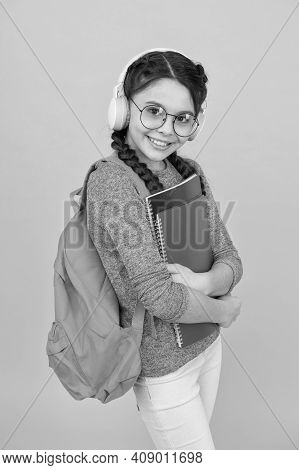School System Functions. Private Schooling. Teen With Backpack. Cute Smiling Schoolgirl. Girl Little