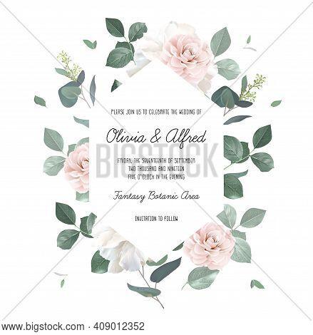 Eucalyptus And Pale Camellia, Peony Vector Design Invitation Frame. Rustic Wedding Greenery. Mint, B
