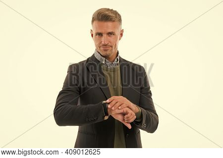 Time Counting. Handsome Mature Man Boss. Appreciate Punctuality. Businessman Check Time Isolated On