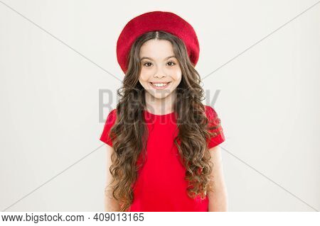 She Is Really Cute. Fashion Baby Girl On Yellow Background. Little Fashion Model. Small Child With F