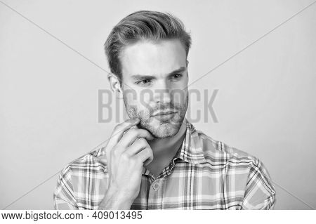 Facial Care. Handsome Man With Unshaven Face Yellow Background. Young Skin. Beard Grooming. Skin Cos