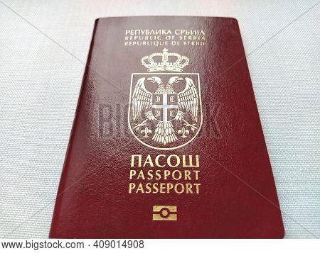 Belgrade, Serbia, November 29, 2020. Serbian Passport. New Biometric Document For Border Crossing. O