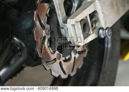 Motorcycle Wave Steel Brake Discs Close Up View, Motor Sport Race Parts