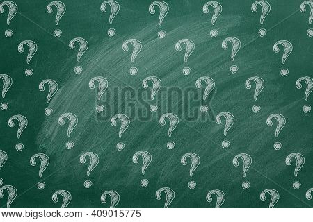 Question Marks On Blackboard. Ask For Help. Faq Concept. Asking Questions.