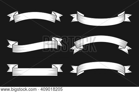 White Ribbon With Black Contour Line Set. Old Hipster Style Decorative Banner Tape In Engraving. Dif