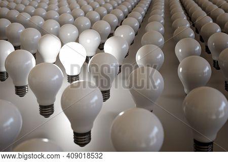 Light Bulb Lit Among Many Other Unlit Bulbs. 3d Illustration.
