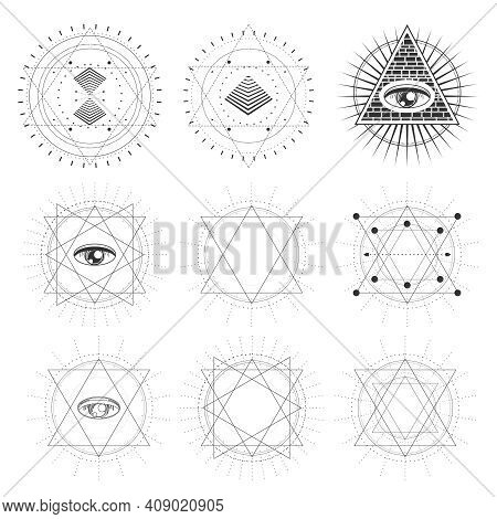 Mystical Geometry Symbols Collection. Set Of Linear Alchemy, Occult, Philosophical Signs. For Music
