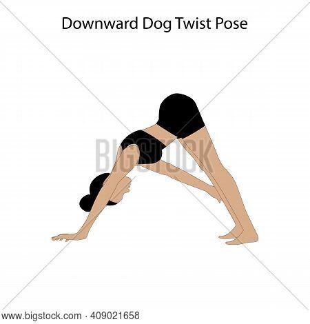 Downward Dog Twist Pose Yoga Workout On The White Background. Vector Illustration