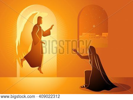 Biblical Vector Illustration Series, Gabriel Visits Mary Also Referred To As The Annunciation To The