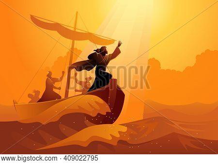 Biblical Vector Illustration Series, Jesus Calms The Storm. Peace Be Still