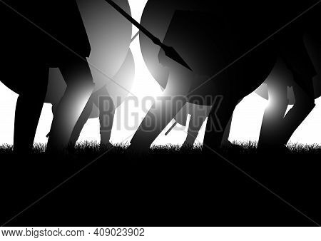 Vector Illustration Of Ancient Army Marching, Holding A Shield And Spear. Invasion, Historic Battle