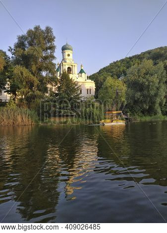 Sviatohirsk, Ukraine - July 6, 2020: Catamaran Riding On The Seversky Donets River Is One Of The Fav