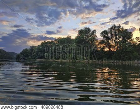 Seversky Donets River In The Evening In The Middle Of Summer. Shooting From The Middle Of The River