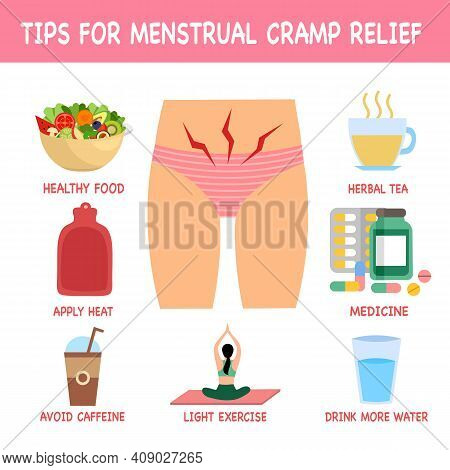Tips For Menstrual Cramp Relief Infographic Concept. Home Remedies Or Useful Advice For Period Pain