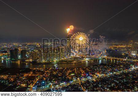 Ho Chi Minh City - Saigon Cityscape With New Year Fireworks