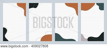 Set Of Vertical Abstract Backgrounds For Social Media. Liquid Shapes And Lines Of Muted Colors. Mode