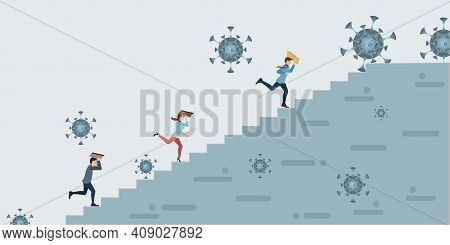 Covid-19 Corona Virus Impact To Businessman.business People Climbing High Stair To Stand Safe By Cov