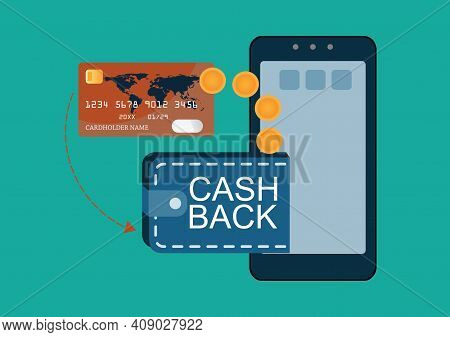 Credit Card Payments With Cash Back On Money Bag With Phone In Hand And Gold Dollar Coins, Electroni