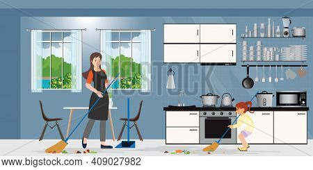 Family Cleaning Kitchen. Woman And Girl Cleaning Dirty Kitchen. Housewife Mopping Floor And Daughter