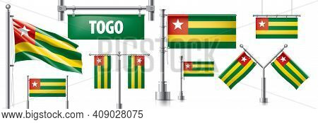 Vector Set Of The National Flag Of Togo In Various Creative Designs
