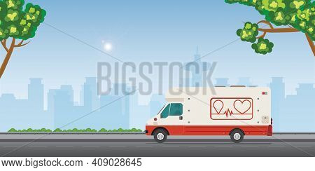 Mobile Blood Transfusion Station Vehicle On Street In A Modern City.medical Special Truck Vehicle Fo