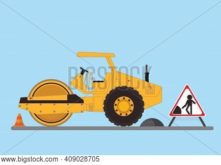 Repair The Road Surface. Road Roller Makes The Paving On Street.road Under Construction Flat Style D