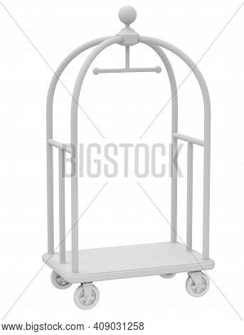 Clay Render Of Hotel Cart On White Background - 3d Illustration