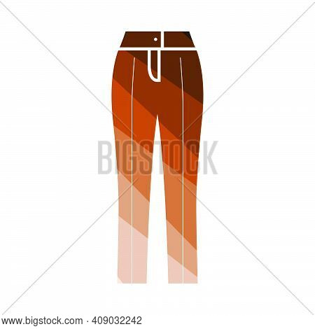 Business Woman Trousers Icon. Flat Color Ladder Design. Vector Illustration.