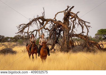 Two Smiling Women Riding Past Dead Tree