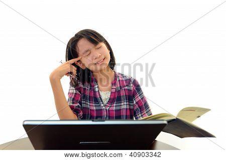 Stressed Asian girl