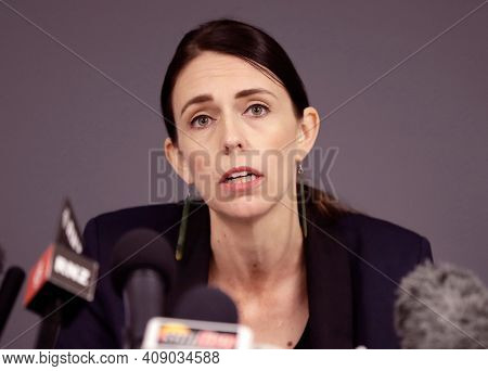 Wellington, New Zealand, January 2021, New Zealand Prime Minister Jacinda Ardern In Meeting