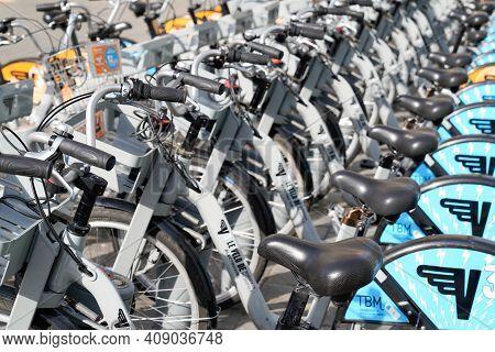 Bordeaux , Aquitaine France - 02 16 2021 : Bordeaux Town Bike Rent Urban Self Access Service Bicycle
