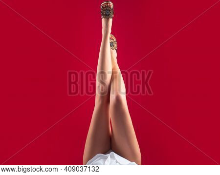 Woman Shoes Fashion Sexy Feet. Seductive Girl Foot Fetish Legs