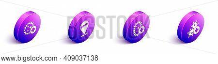Set Isometric Positive Virus, Corona Virus 2019-ncov On Location, Positive Virus And Positive Virus
